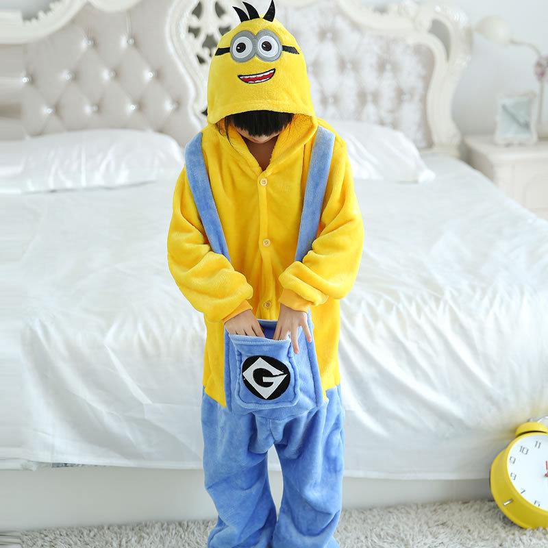 profesional gran venta de liquidación diseños atractivos Pijama de minion para niños kigurumi