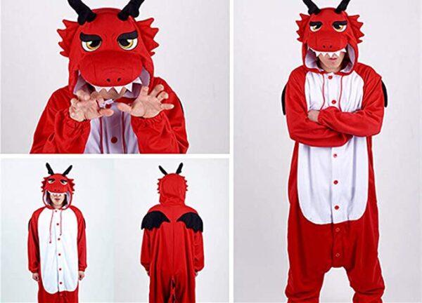 pijama de cuerpo entero de dragon con alas