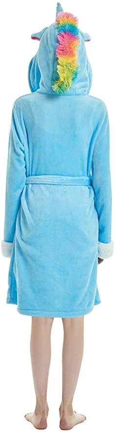 Bata con capucha de Unicornio Azul